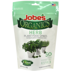 50 count bag of Jobe's Organics herb plant food spikes.