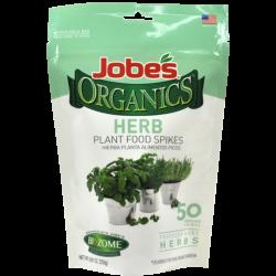 50 count bag of Jobe's Organics herb plant food spikes.