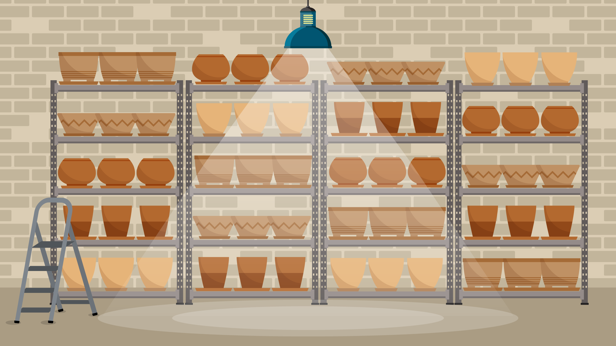 Illustration of pots stacked neatly on shelves.