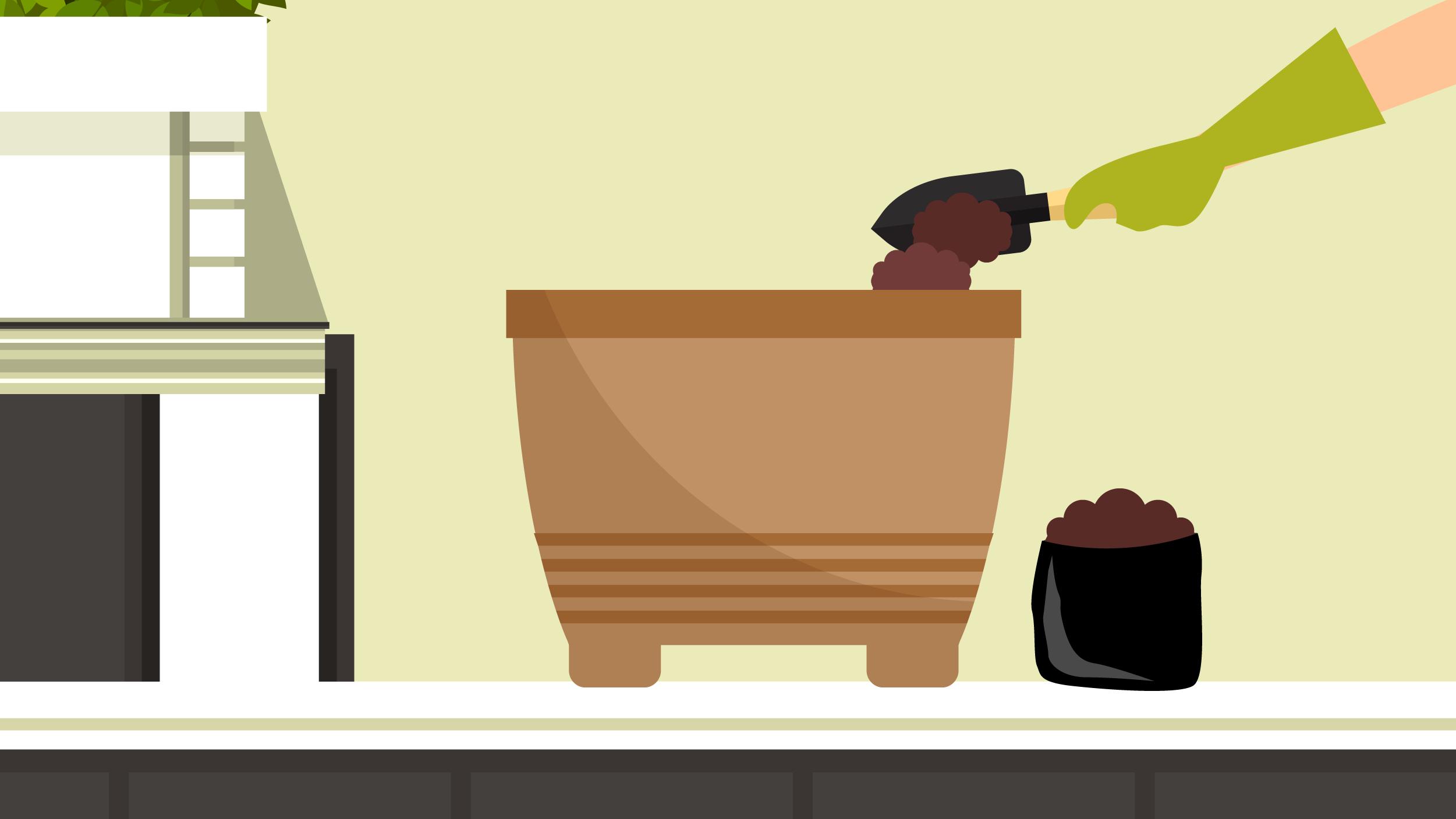 Illustration of a gardener poring Jobe's fertilizer into an empty pot with a gardening shovel.