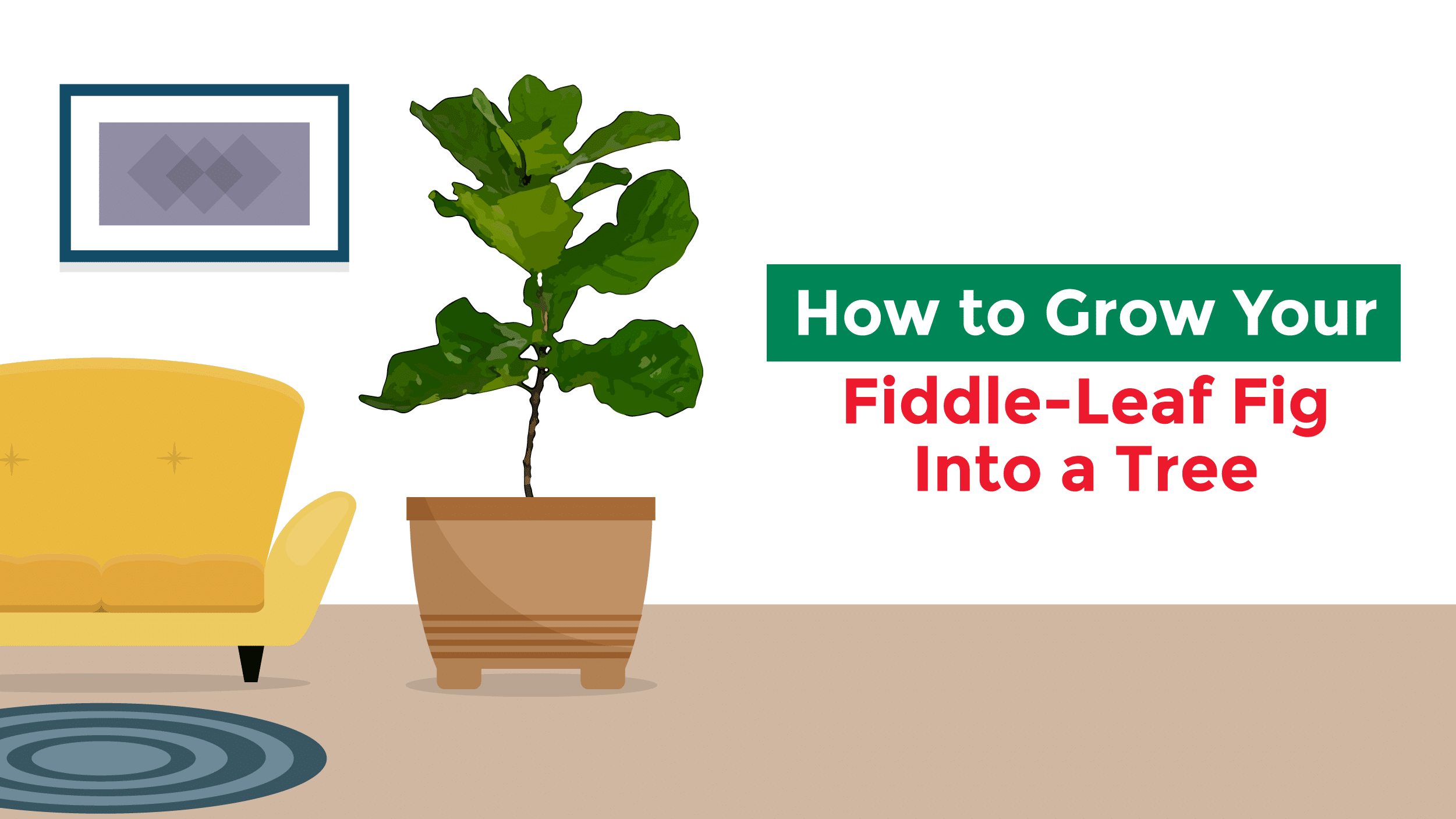 Illustration of a fiddle-leaf fig tree in a modern room.